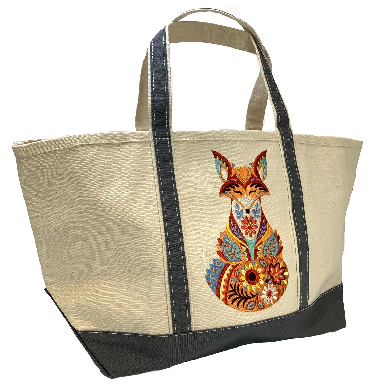 Embroidered Canvas Tote Large Autumn Fox