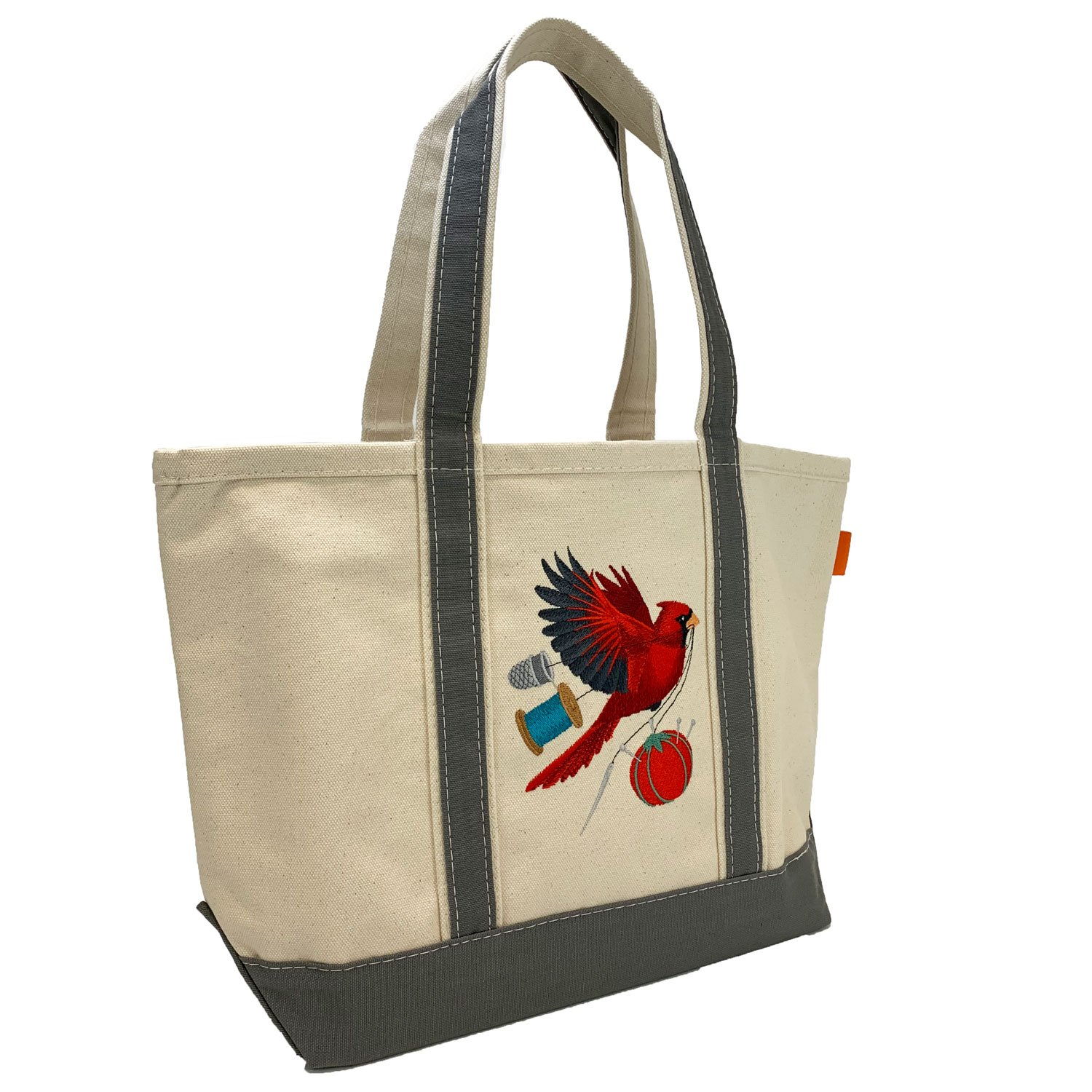 Embroidered Canvas Tote Cardinal & Notions