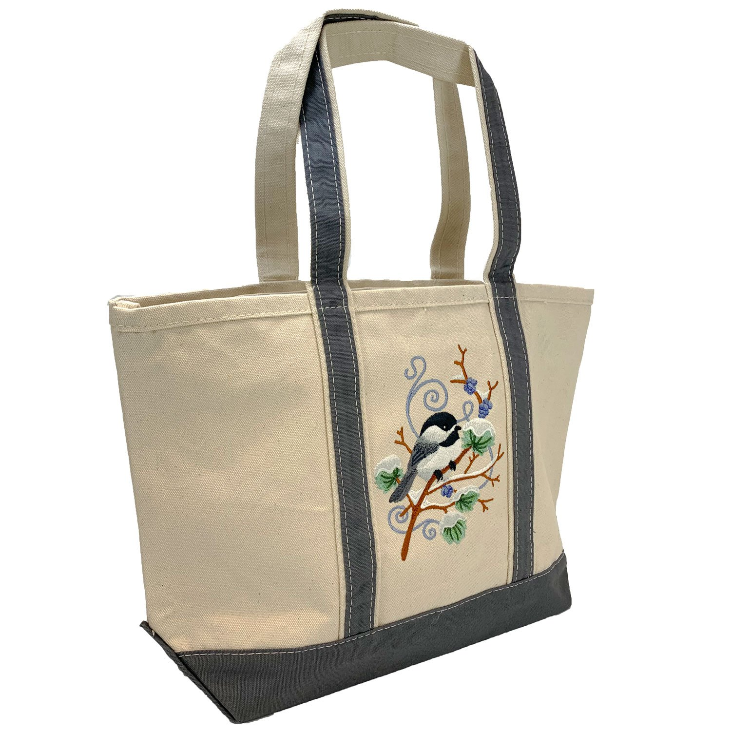 Embroidered Canvas Tote Chickadee
