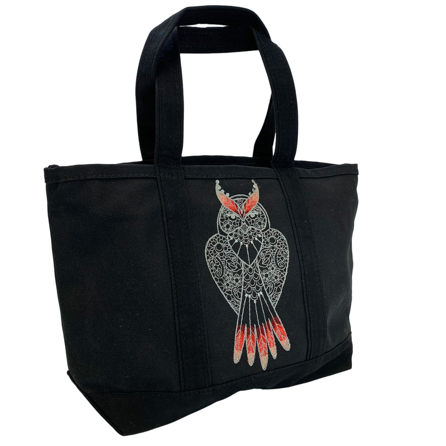 Embroidered Canvas Tote Flame Owl