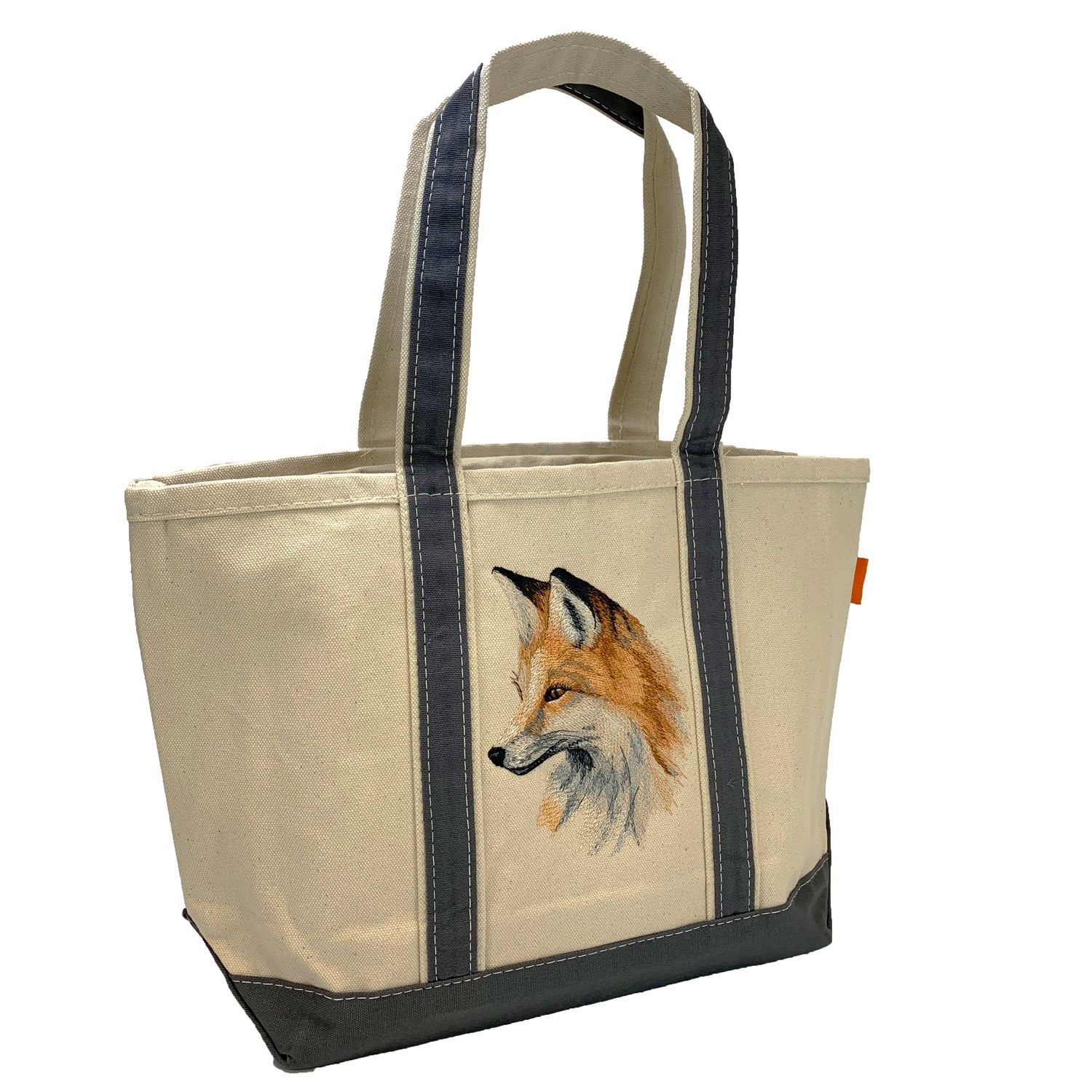 Embroidered Canvas Tote Fox