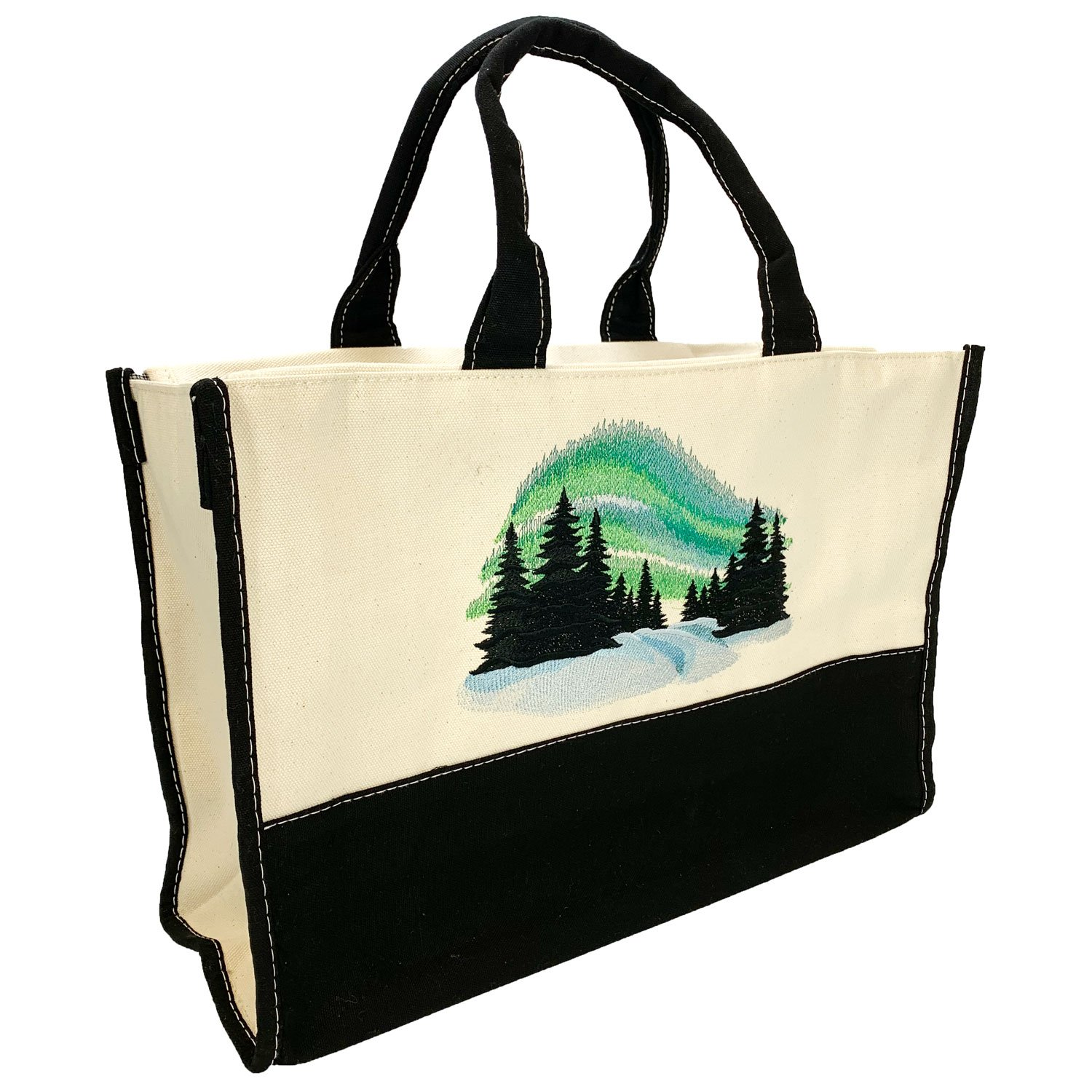 Embroidered Lined Canvas Tote Northern Lights