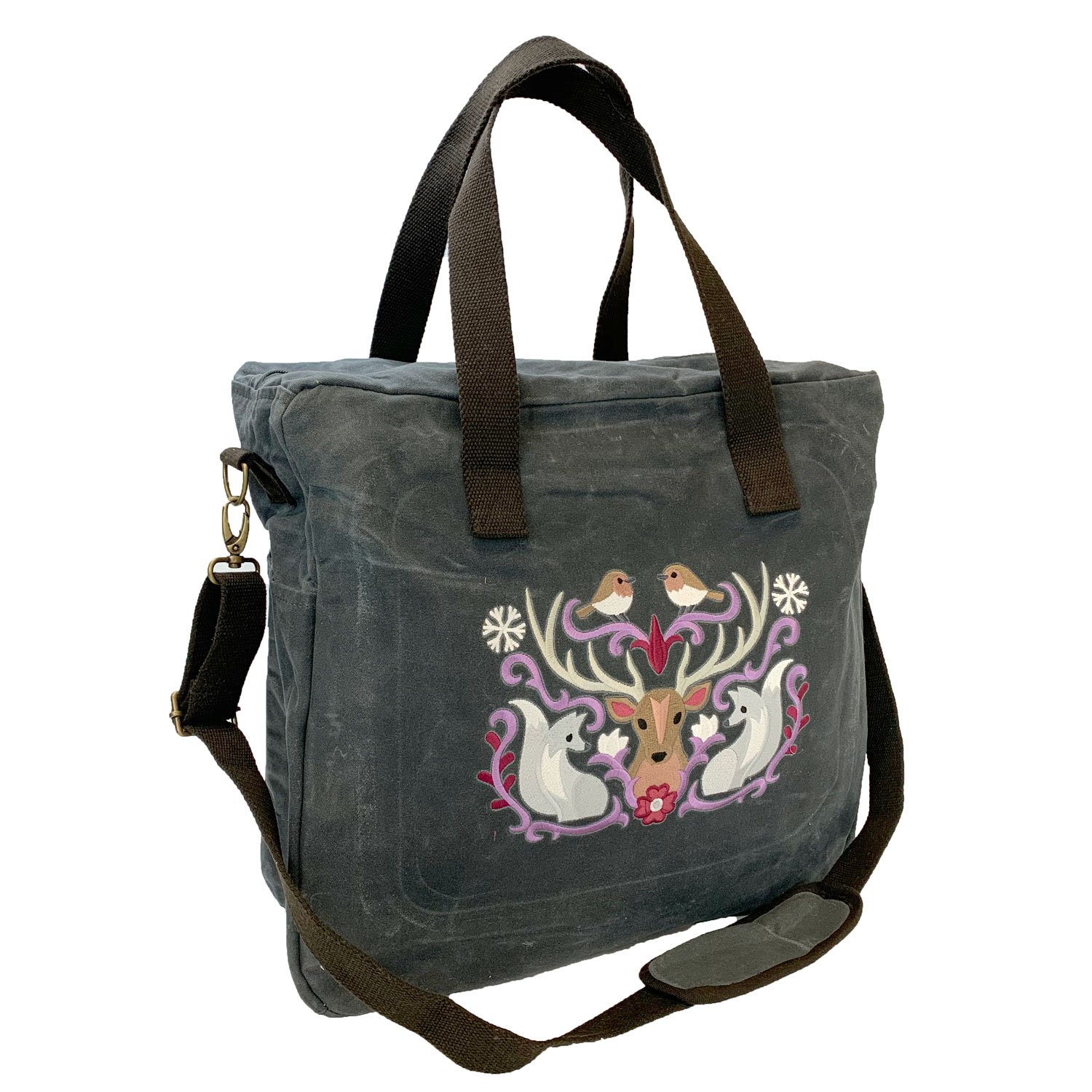 Embroidered Waxed Canvas Travel Tote Folk Wildlife