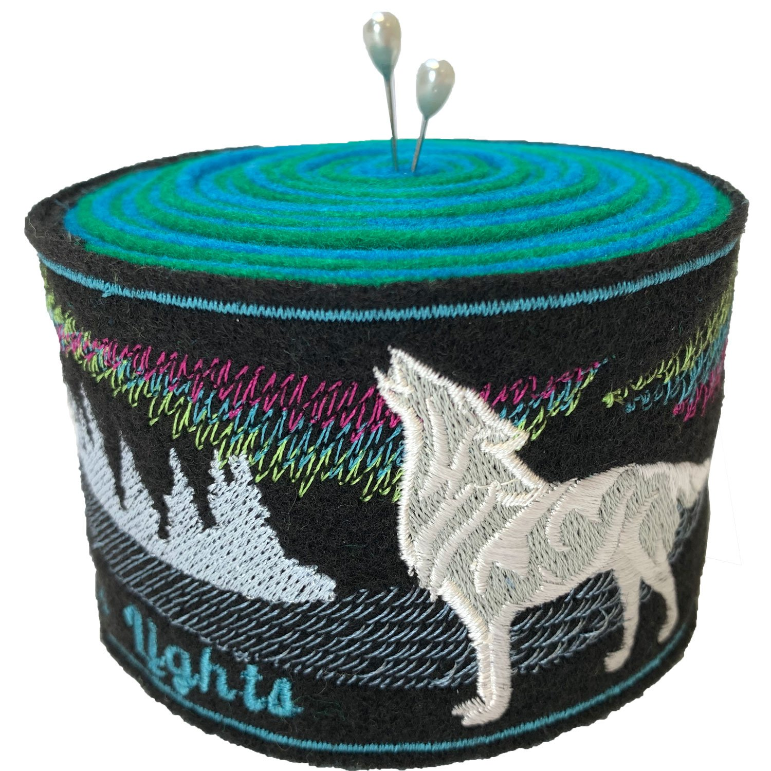 Embroidered Felt Pincushion Wolf
