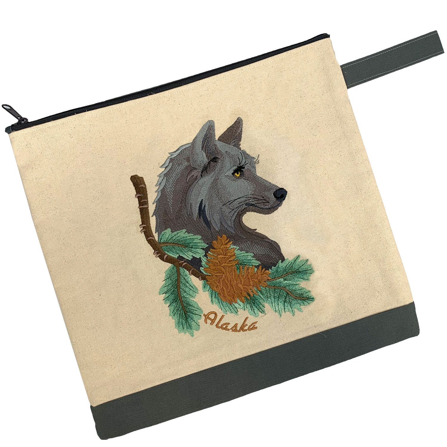 Embroidered Zip Pouch Handmade Wolf in Pine
