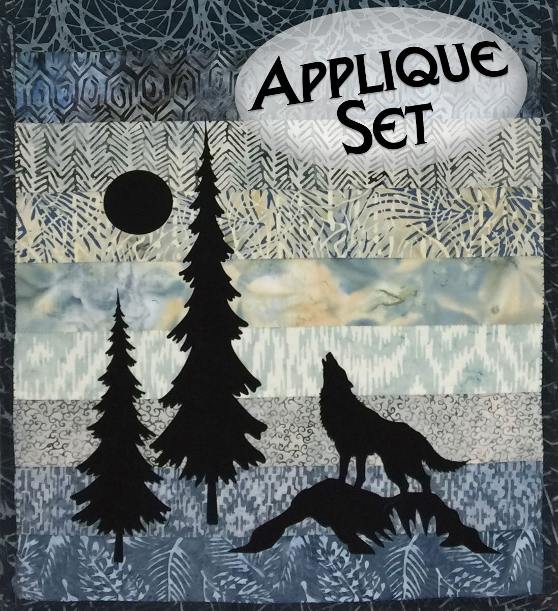 Mini Wolf & Trees Laser Cut Applique Set