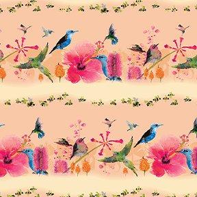 Flower Talk  Bird Stripe Y3008-35 Lt Orange