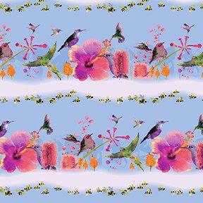 Flower Talk  Bird Stripe Y3008-85 Periwinkle