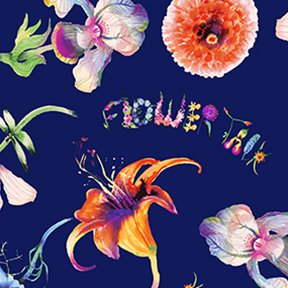 Flower Talk Fun Floral Y3009-53 Navy Blue