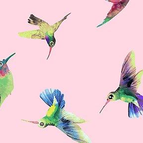 Flower Talk Hummingbirds Y3011-41 Light pink