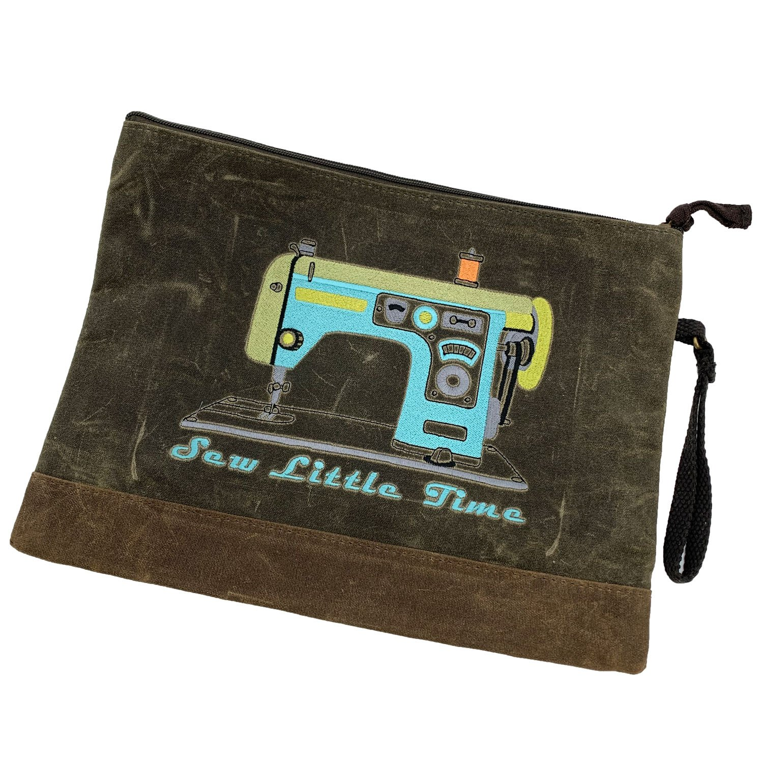 Embroidered Zip Pouch Waxed Canvas Retro Machine