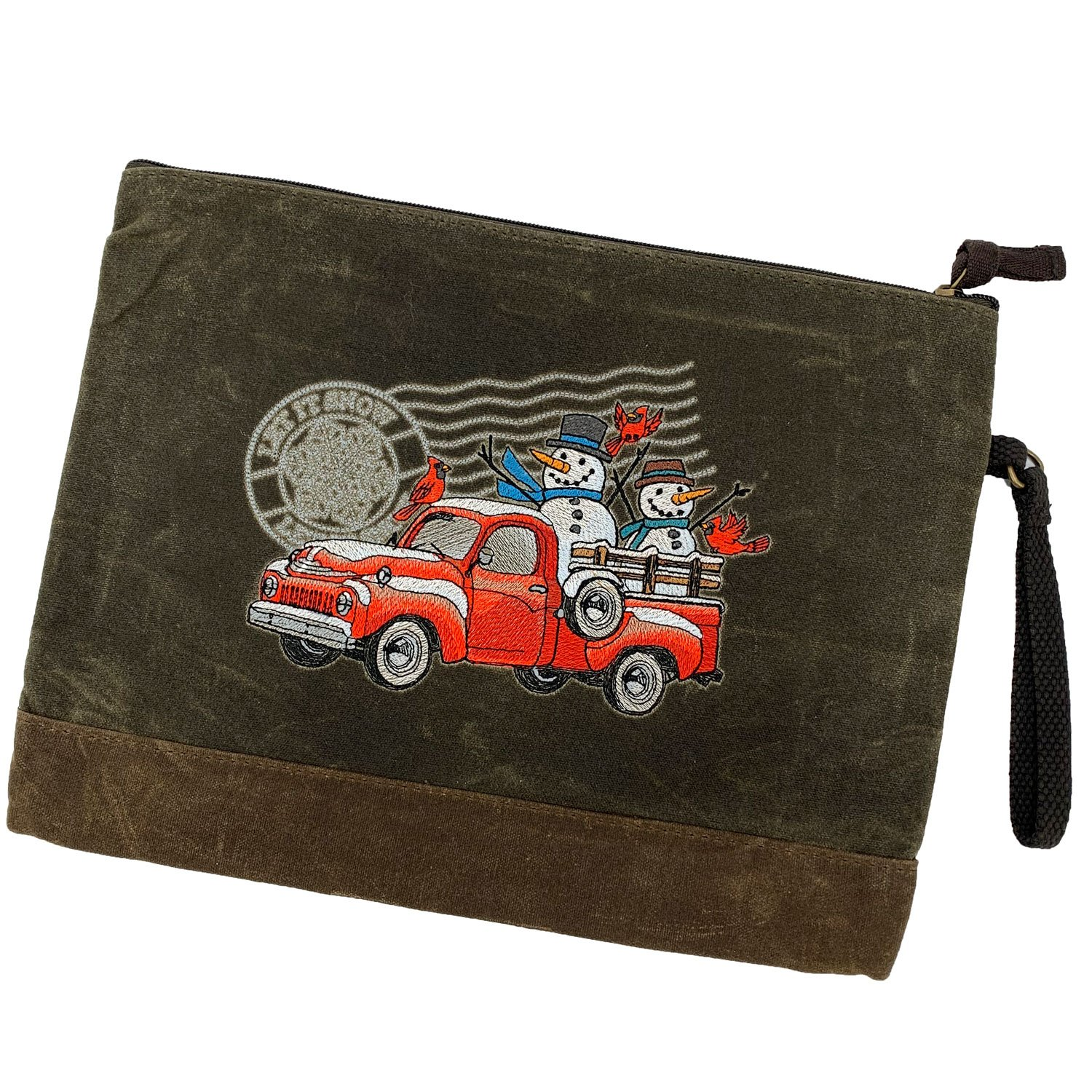 Embroidered Zip Pouch Waxed Canvas Retro Truck