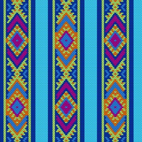 Beaded Blooms Stripe Turquoise