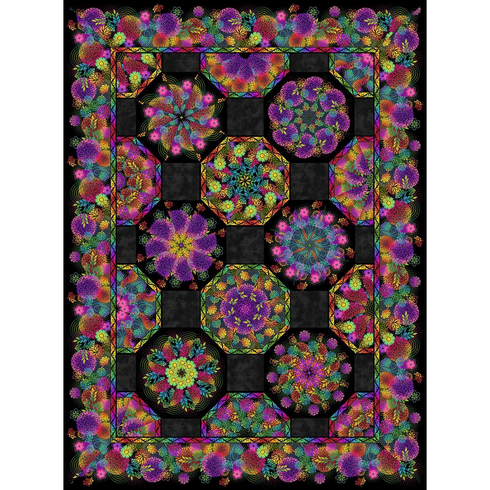 Unusual Garden II - One-Fabric Kaleidoscope Quilt