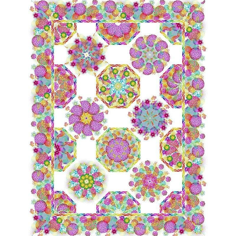 Unusual Garden II - One-Fabric Kaleidoscope Quilt