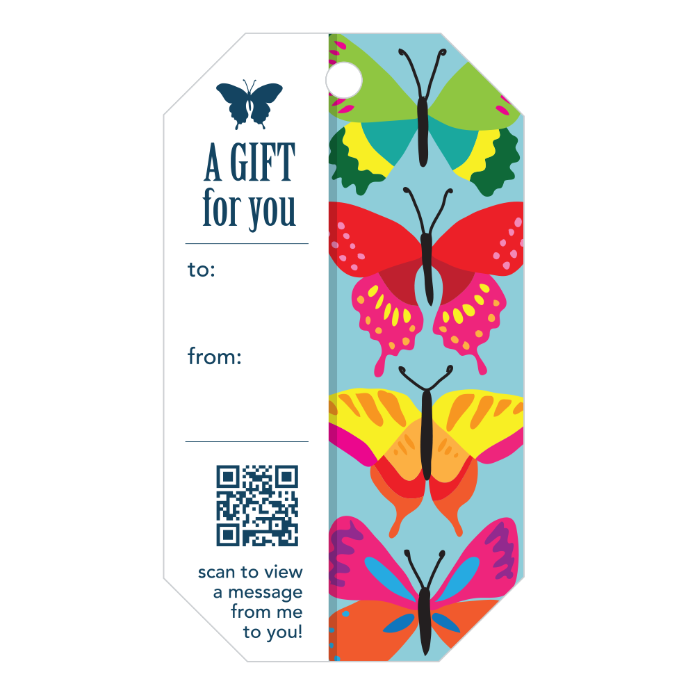 Penless Video Gift Tags - A Gift For You Butterfly 4/pc