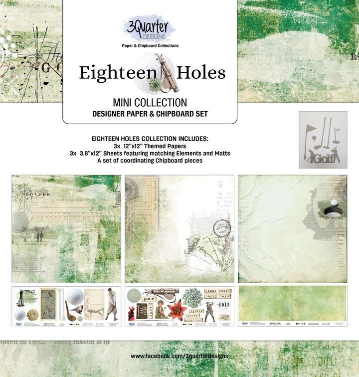 3Quarter - Eighteen Holes MINI Collection - Designer Paper & Chipboard Set