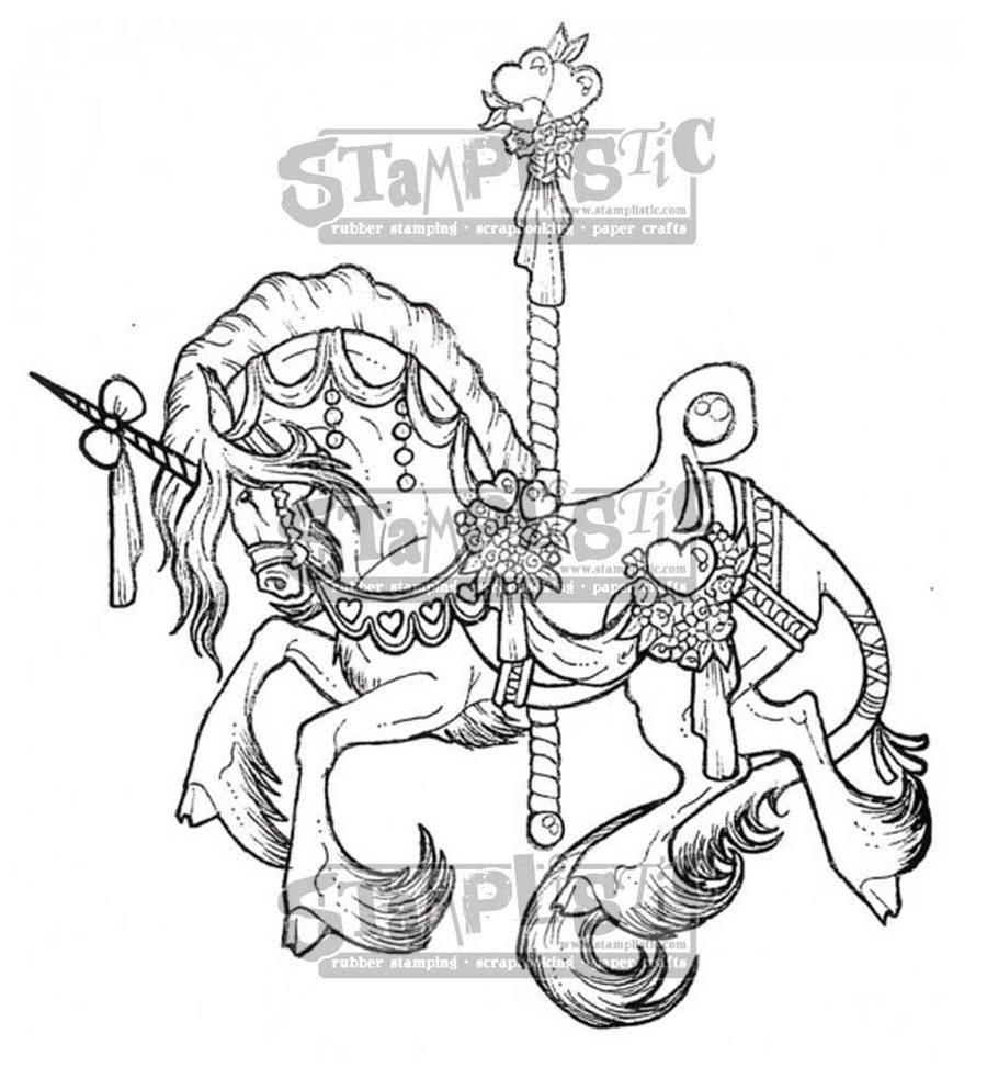 Stamplistic - Carousel Unicorn Rubber Stamp