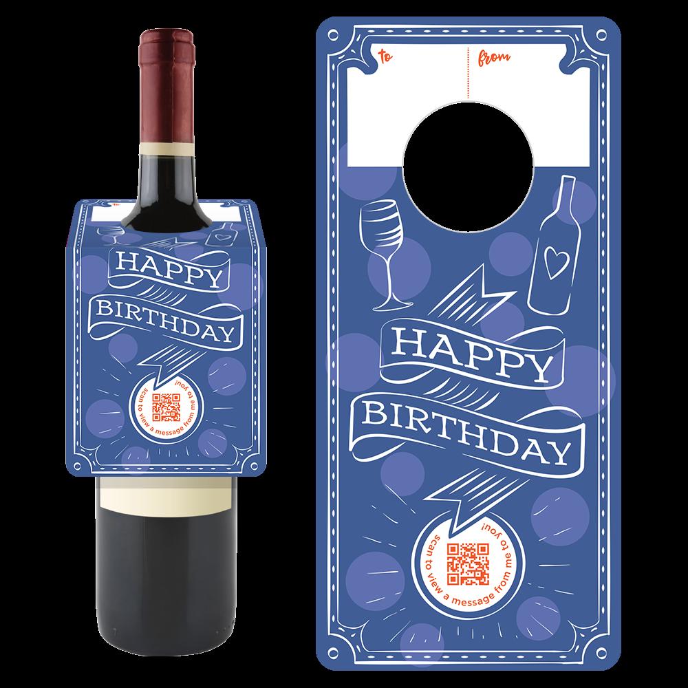 Penless Video Wine Tag - Happy Birthday Blue Ribbon Tag
