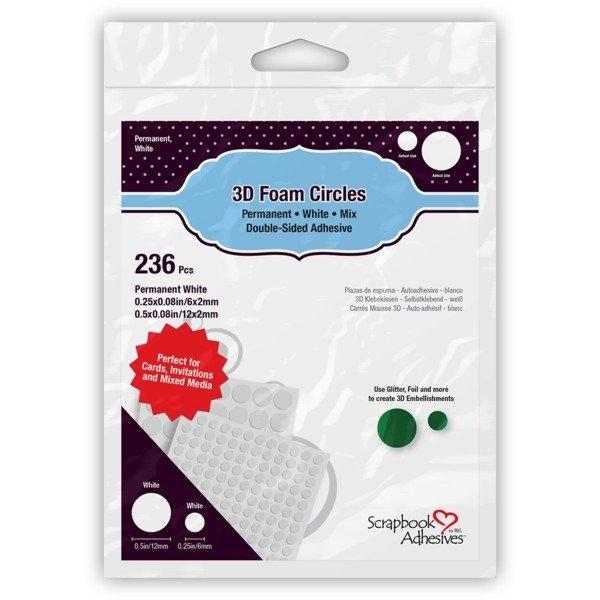 Scrapbook Adhesives - 3D Foam Circles - White - .25 & .50 - 236pk
