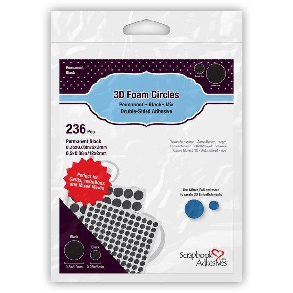 Scrapbook Adhesives - 3D Foam Circles - Black - Assorted Sizes