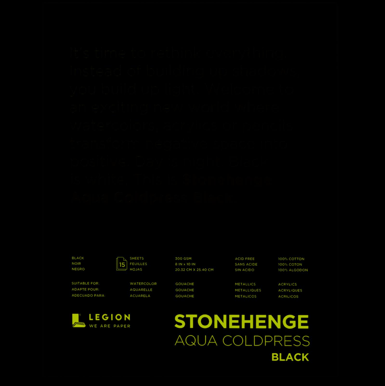 Stonehenge Aqua Coldpress Pad 8X10 15 Sheets/Pkg - Black 140lb