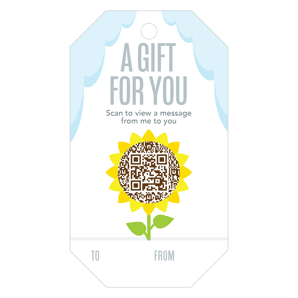 Penless Video Gift Tags - A Gift For You Sunflower 4/pc