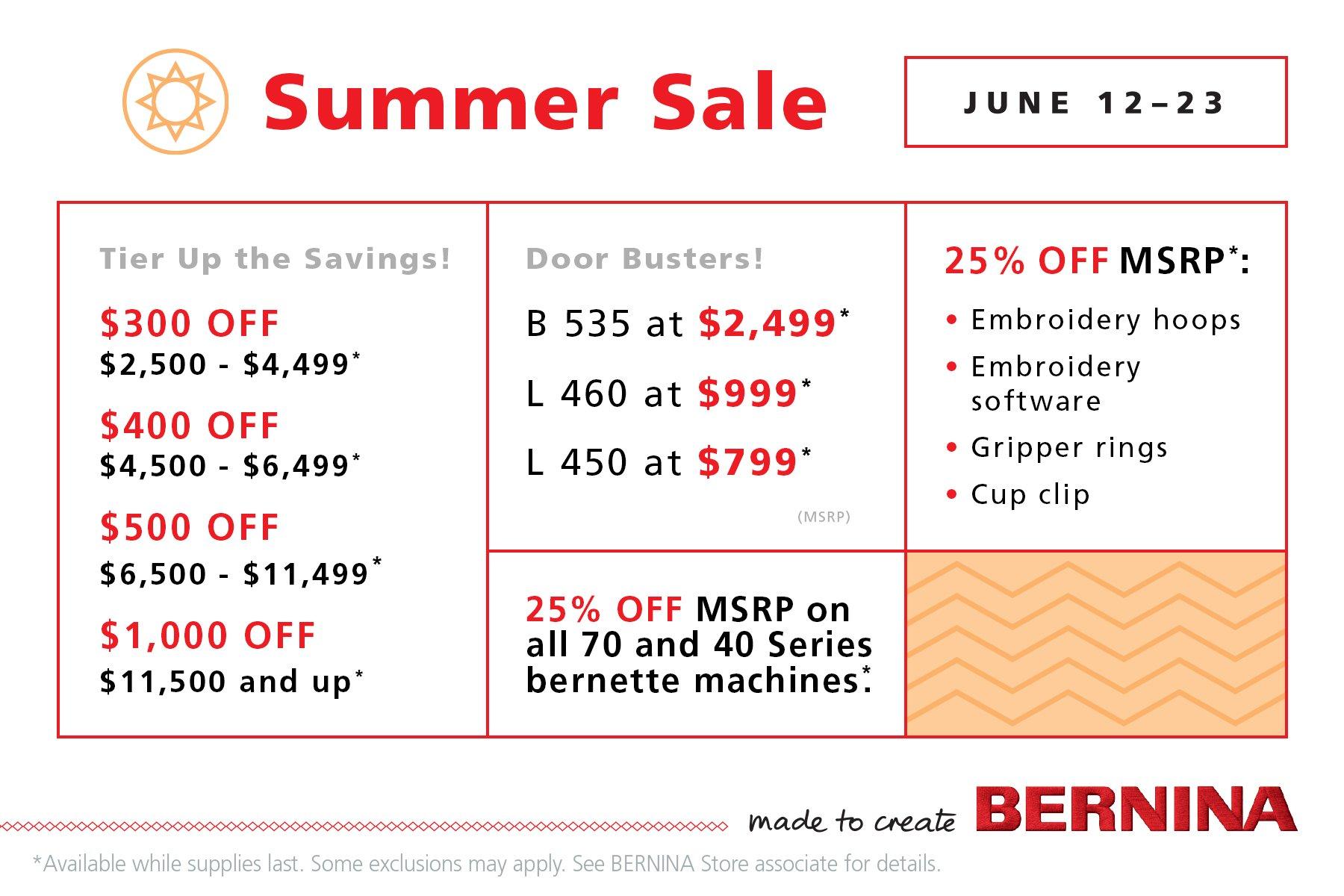 BERNINA Summer Sale