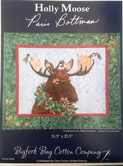 1203PB-HM09, Bigfork Bay Cotton Co Holly Moose Fabric Kit with Pattern