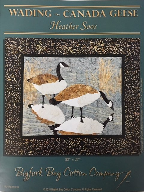 1301HS-WG10 Big Fork Bay Cotton Co. Wading Canadian Geese Pattern by Heather Soos