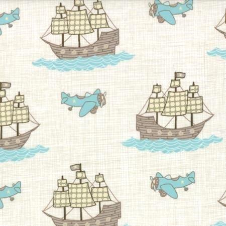 13112-11B Moda Brushed cotton  Story Book Green Ships