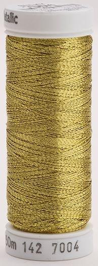 142-7004 Sulky Metallic 40% Poly Metal 50% Nylon Core 10% Metallic Fiber 165 yrds Metallic Dark gold