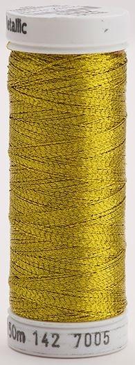 142-7005 Sulky Metallic 40% Poly Metal 50% Nylon Core 10% Metallic Fiber 165 yrds Metallic Brass