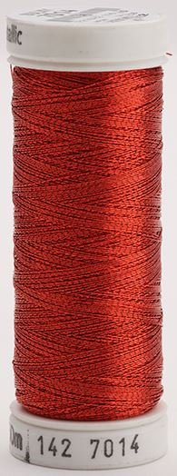 142-7014 Sulky Metallic 40% Poly Metal 50% Nylon Core 10% Metallic Fiber 165 yrds Metallic Christmas Red