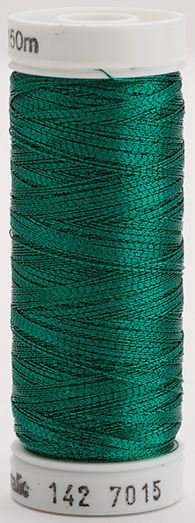 142-7015 Sulky Metallic 40% Poly Metal 50% Nylon Core 10% Metallic Fiber 165 yrds Metallic Jade Green