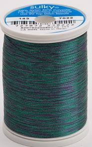 143-7022 Sulky Metallic 40% Poly 59% Nylon Core 1% Metallic Fiber 1000 yrds Jade/Purple