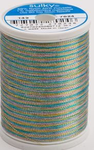 143-7024 Sulky Metallic 40% Poly 59% Nylon Core 1% Metallic Fiber 1000 yrds Lt Blue/Gold/Lav