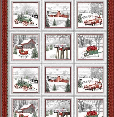 1612-89REDGRY Henry Glass Holiday Homestead Block Panel with Barns Trucks Mailboxes etc.