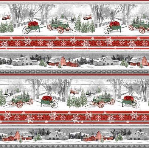 1615-89MULTI Henry Glass Holiday Homestead Multi Border Stripe
