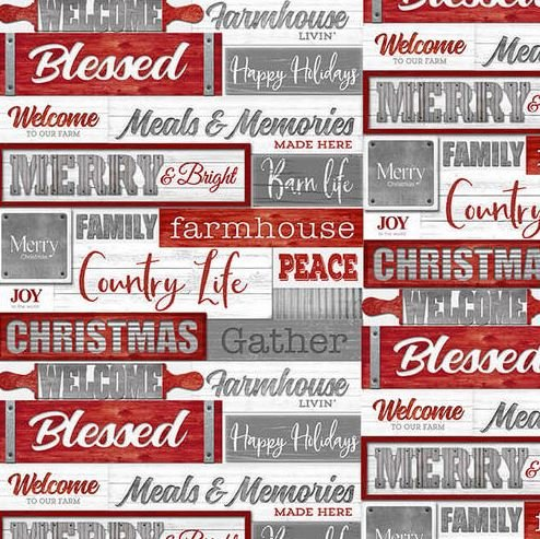 1621-89REDGRY Henry Glass Holiday Homestead Red and Grey Words