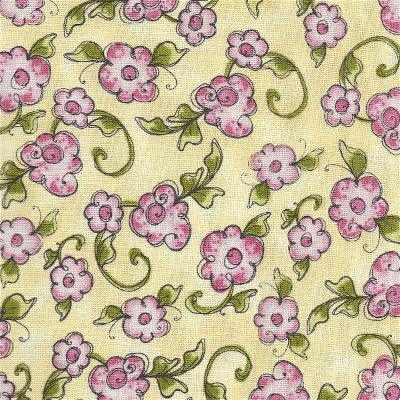 1649-21335-S Quilting Treasures Very Fairy Pink Roses on Yellow