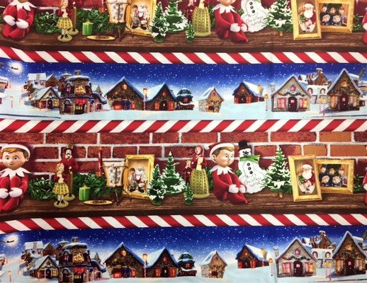 Quilting Treasures Elf on the Shelf Border Print 1649-22764-R