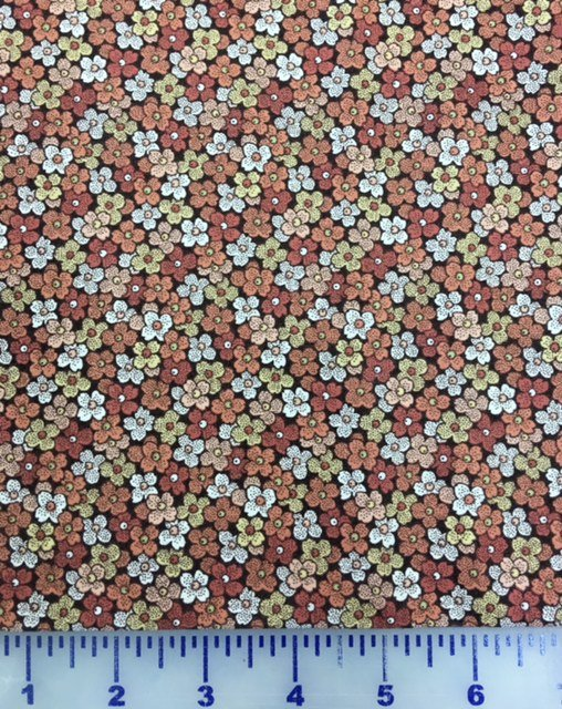 1649-23077-AT Quilting Treasures Petals Brown with flowers