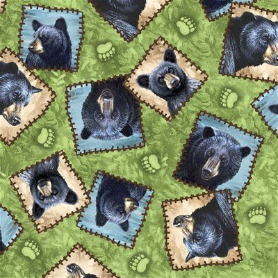 1649-23974-H Quilting Treasures Bear Country Tossed Bear Patches Sage