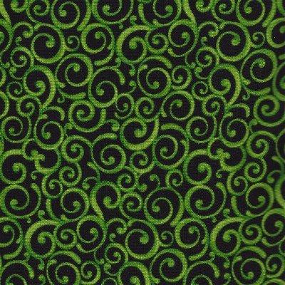 1649-24222-J Quilting Treasures Shamrock Black with Green Swirl