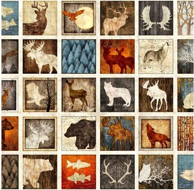 1649-24363-X Quilting Treasures Woodland Spirit 4-1/4 Animal Blocks