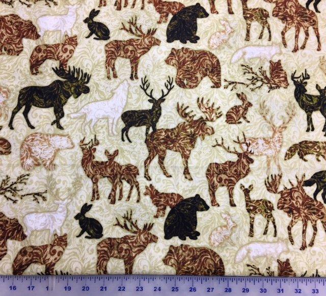 1649-24364-T Woodland Spirit Rust  All Over Animals