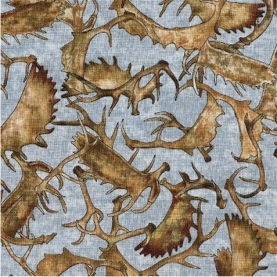 1649-24365-B Quilting Treasures Woodland Spirit Blue  All Over Antlers