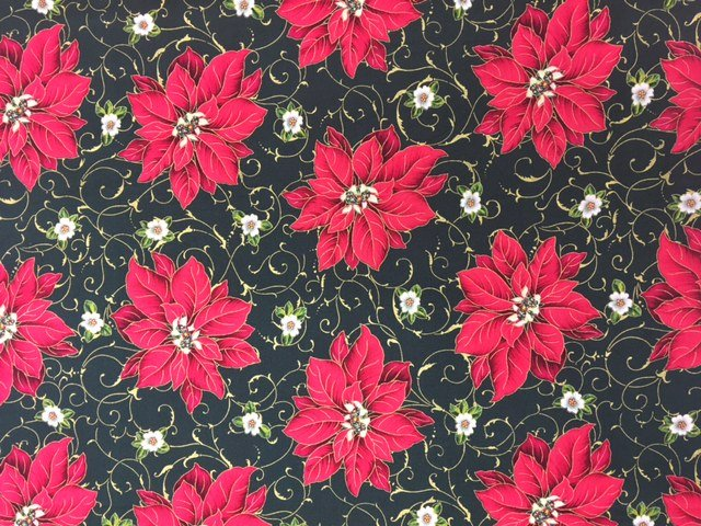 1649-45703-F Quilting Treasures Holiday Magic Blk Red Poinsettia