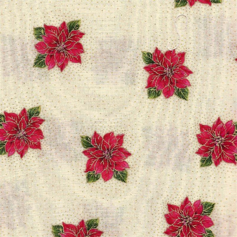 1649-45710-E, Quilting Treasures Holiday Magic, Cream Poinsettia